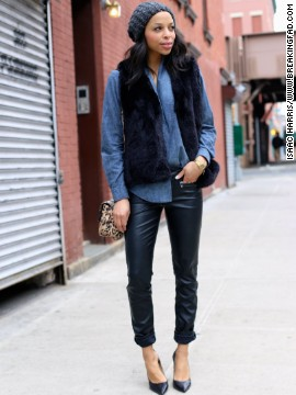 """Black leather skinnies, a dark denim button down and classic black pumps are staples in an urban woman's wardrobe,"" Lloyd says."