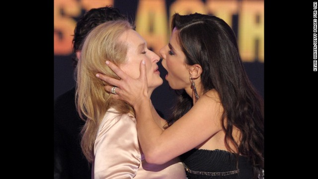 "<strong>Critics' Choice Awards, January 16, 2014: </strong>The Broadcast Film Critics Association bestows awards on performances they deem most deserving. Aisha Tyler hosts this year, where once again ""12 Years a Slave"" and ""American Hustle"" head the nominations, though Sandra Bullock, shown here kissing Meryl Streep after she beat her for Best Actress in 2010, could be back onstage this year for her affecting work in ""Gravity."""