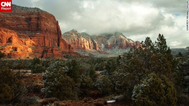 """Sedona was beautiful with a dusting of snow and the sunlight peeking through the clouds,"" said Michael Taylor, who captured this photo."
