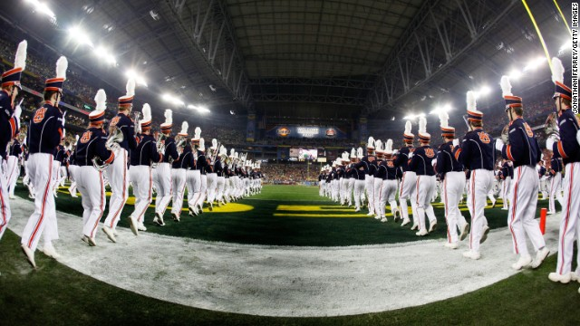The Auburn Tigers marching band performs in Arizona.