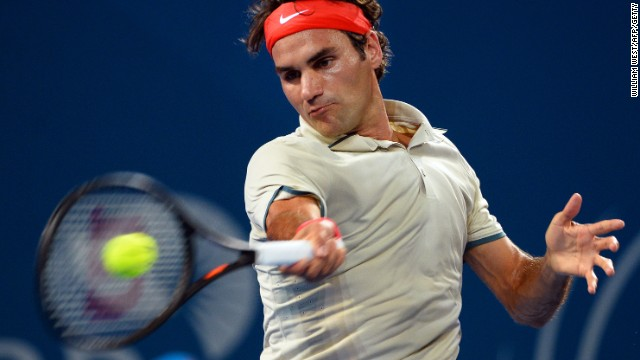 Roger Federer powers a forehand during his imperious victory over Marinko Matosevic in Brisbane.