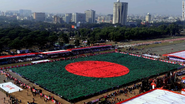 """More than 27,000 people gathered in the Bangladeshi capital, Dhaka, on December 16, in an attempt to break the record for the world's largest """"human flag."""""""