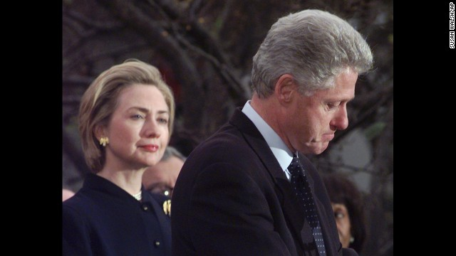 On December 19, 1998, President Clinton makes a statement at the White House as the first lady looks on. Clinton thanked Democratic members of the House who voted against impeachment, and he vowed to complete his term.