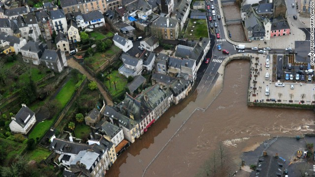 Streets are submerged by floodwaters in Brittany, France, on January 4.
