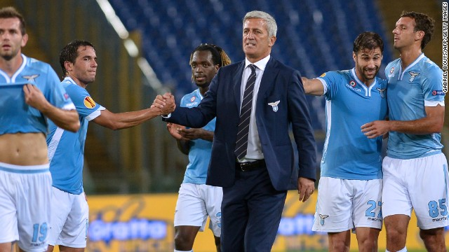 Lazio hasn't had much reason to celebrate this season and sacked manager Vladimir Petkovic, middle, on Saturday.