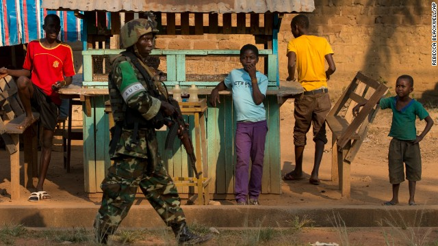 An African Union peacekeeper from Burundi participates in a joint patrol with French forces in the Fouh neighborhood of Bangui on Janurary 4.