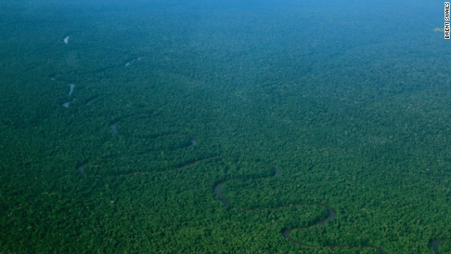 Flying over the Congo basin, world's second largest rainforest system.