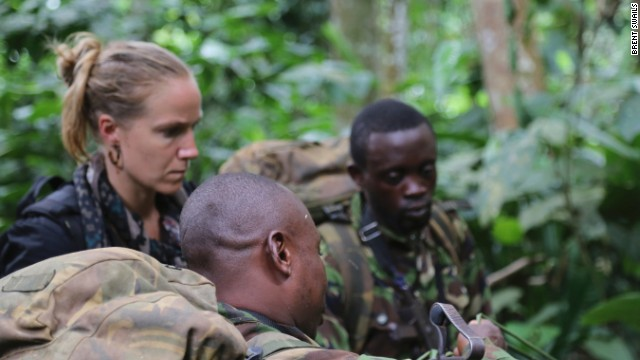 Arwa Damon and shooter Peter Rudden on patrol with Odzala-Kokoua National Park's Eco Guards.