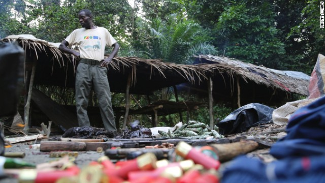 Guns, ammunition, bushmeat and other supplies found by Eco Guar