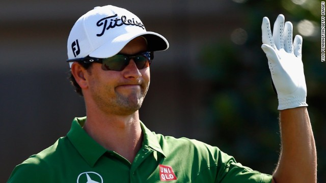Adam Scott acknowledges the galleries at the Tournament of Champions in Hawaii, which kicked off 2014 on the PGA Tour.