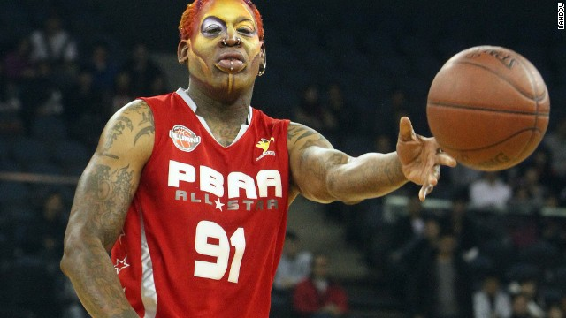 Rodman wears face paint in 2011 while playing a basketball game with other NBA greats in Macau.