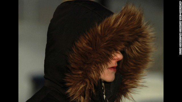A woman braves the cold in Scranton, Pennsylvania, on January 7.