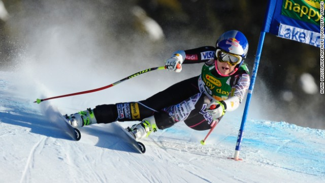 There are celebrations at last for the Olympic champion as she finishes fifth in December's Super-G at the World Cup in Lake Louise, Canada.