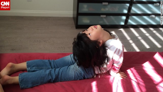 "Cherry Cheng, a mom of two, says her daily exercise has rubbed off on her kids, including her 5-year-old daughter, Dora, who likes to do yoga and dance with her mom. ""I don't tell them what to eat (and) what not to eat,"" said the Arcadia, California, resident. ""They learn from (us)."""