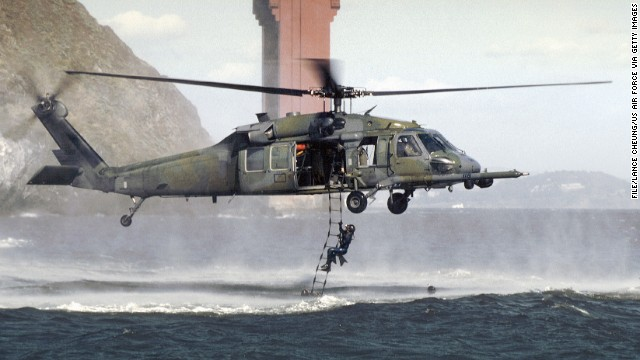This file photo shows a U.S. Air Force HH-60G Pave Hawk helicopter on a training mission in 2011.