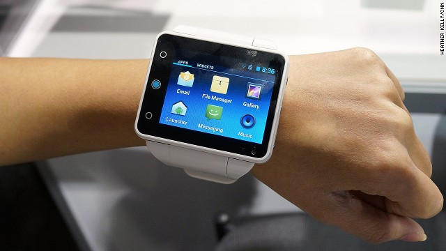 Big watch or tiny phone? The bulky 2.4-inch touchscreen <a href='http://www.neptunepine.com/' target='_blank'>Neptune Pine</a> smart watch runs Android Jelly Bean and is a fully functioning phone. It will cost $335 to $395 when it's released in March.