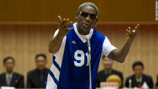 "Dennis Rodman sings ""Happy Birthday"" to North Korean leader Kim Jong Un before an exhibition basketball game in Pyongyang, North Korea, on Wednesday, January 8. In his latest round of ""basketball diplomacy,"" Rodman made his fourth visit to North Korea, one of the world's most totalitarian states, to participate in a basketball game between North Korea and a team of former NBA players."