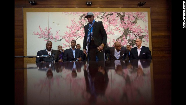 Rodman stands up after he and fellow former NBA players completed a television interview at a hotel in Pyongyang on Tuesday, January 7.