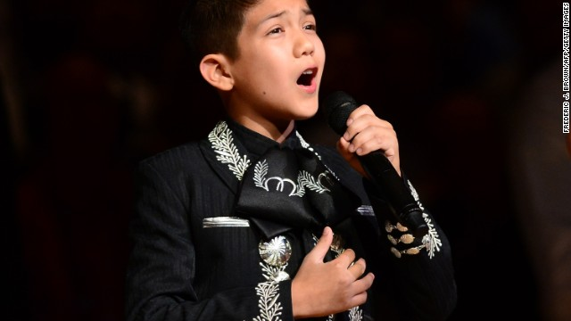 Sebastien De La Cruz, known as San Antonio's Little Mariachi, sang the national anthem before an NBA finals game between the San Antonio Spurs and the Miami Heat in 2013. When some questioned his citizenship and mariachi outfit, it sparked defense of the young singer from notables such as actress Eva Longoria.