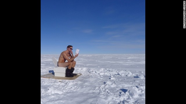 "What better way to get in touch with nature than to leave behind your clothes? That's what ""True Blood"" star Alexander Skarsgard did on a trip to the South Pole, as captured by adventure guide Inge Solheim. The snapshot isn't too surprising -- even considering the frigid temperature -- since this is one actor who has zero problems with nudity. On the job, ""if we're naked in the scene, then I'm naked,"" Skarsgard once explained to Rolling Stone."