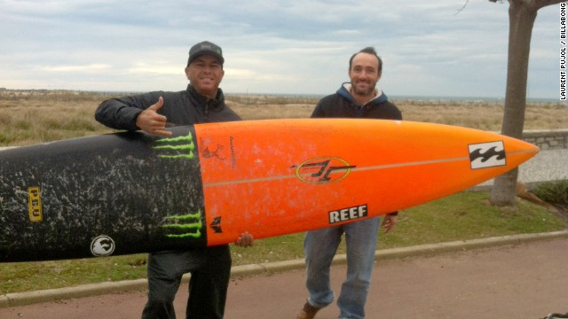 American pro surfer Shane Dorian (left) flew in from his home in Hawaii for a rare chance to tackle the Belharra break in France.