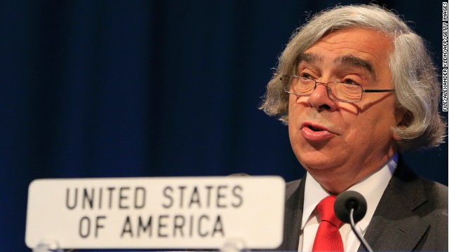 U.S. Department of Energy Secretary Ernest Moniz delivers a speech in Austria in September.