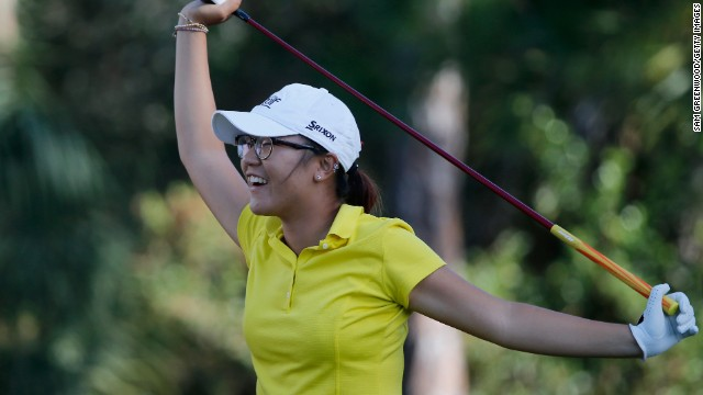 Ko displays all the youthful exuberance of a teenager while taking part in a tournament in Florida last November.