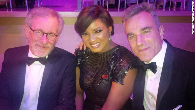 Jalade-Ekeinde with director Stephen Spielberg (left) and actor Daniel Day-Lewis at the Time 100 gala event on April 23, 2013.