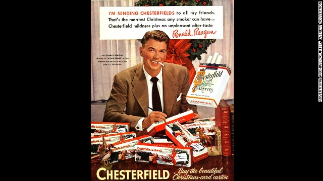 Fifty years ago, on January 11, 1964, U.S. Surgeon General Luther Terry issued a landmark report on the negative health risks caused by smoking tobacco. But you wouldn't know those risks by looking at some of these prominent advertisements of the 20th century. Here, actor and future U.S. President Ronald Reagan is seen in a 1950s ad for Chesterfield cigarettes.