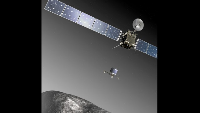 Rosetta is named after the Rosetta Stone, the black basalt that provided the key to deciphering Egyptian hieroglyphs. Scientists hope the mission will give them new clues about the origins of the solar system and life on Earth. The mission is spearheaded by the European Space Agency with key support from NASA.