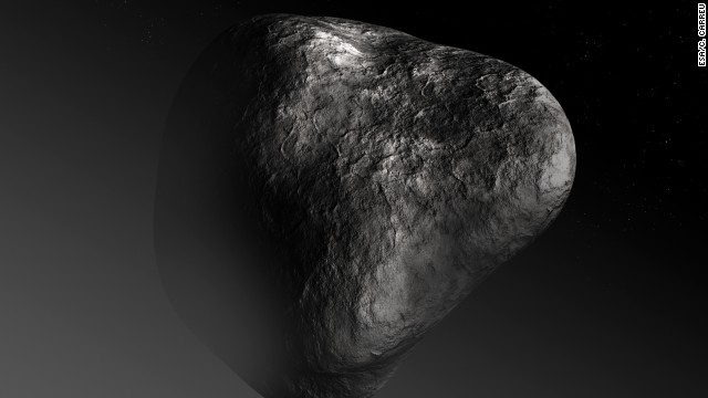 A drawing of the comet's nucleus. The nucleus, or rocky part of the comet, is thought to be about 2.5 miles miles wide.