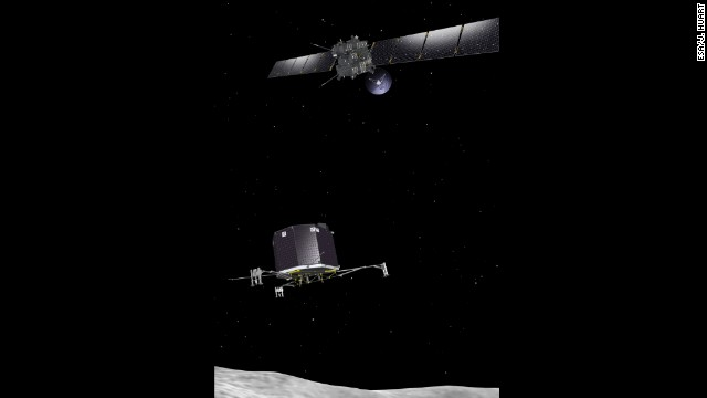 Rosetta will be the first spacecraft to deploy a robot for a soft landing on a comet. It also will be the first probe to escort a comet into our inner solar system. This drawing shows how Rosetta will drop its robotic lander, Philae, onto the comet.