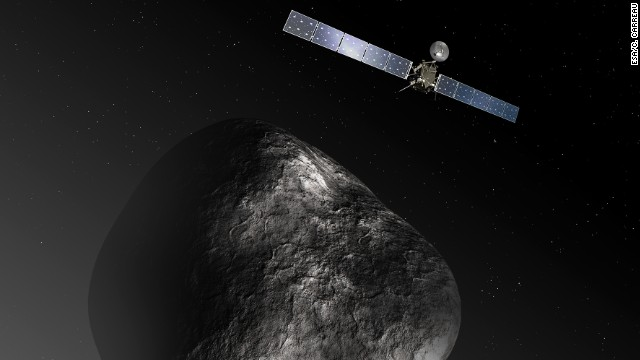 On January 20, Rosetta will wake up, fire its engine and chase after comet 67P/Churyumov Gerasimenko as it hurtles by. This drawing shows how Rosetta will orbit the comet.