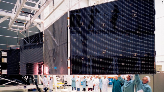 Rosetta's solar wings are unfurled and checked out at the European Space Agency's test facilities.