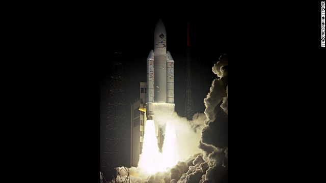 The ESA-led project was launched from French Guiana in 2004. Here you can see a European Ariane 5 rocket carrying the Rosetta spacecraft as it lifts off from Kourou on March 2.