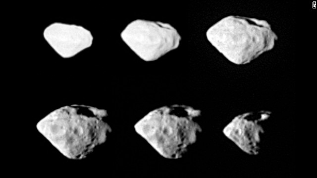 During its 10-year comet chase, Rosetta zipped by Asteroid Steins at a distance of 500 miles (800 km). The asteroid is about 3 miles (5 km) in diameter. Scientists were amazed the asteroid survived the impact that created its large crater.
