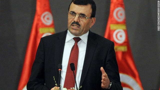 Tunisian Prime Minister Ali Laarayedh speaks on October 5.