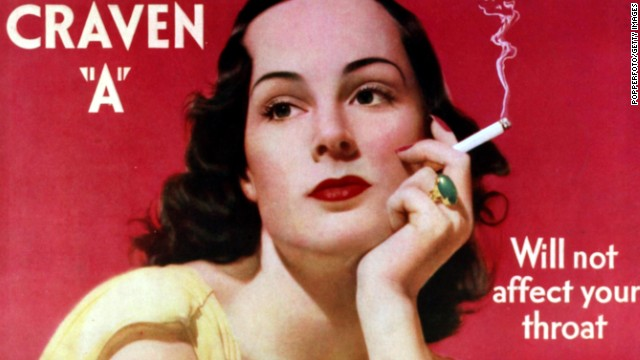 "Some early smoking advertisements, like this one for Craven ""A"" cigarettes, claimed their products wouldn't affect the throat."