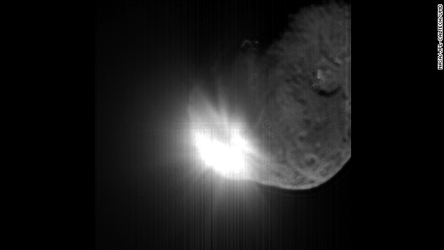 Rosetta's probe Philae will be the first probe to make a soft landing on a comet, but in 2005, NASA's Deep Impact probe successfully collided with Comet 9P/Tempel 1. This image was taken by the spacecraft's high-resolution camera 13 seconds after impact. The image has been digitally processed to better show the comet's nucleus.