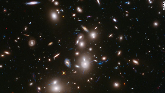 This long-exposure image from the Hubble Telescope is the <a href='http://hubblesite.org/newscenter/archive/releases/2014/01/full/' target='_blank'>deepest-ever picture taken of a cluster of galaxies. The cluster, </a>called Abell 2744, contains several hundred galaxies as they looked 3.5 billion years ago; the more distant galaxies appear as they did more than 12 billion years ago, not long after the Big Bang.