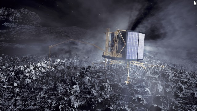 Rosetta will release its robot lander Philae for a soft landing on the comet in November. It will fire harpoons to anchor itself to the comet. Scientists expect the lander to send back data to Earth for at least a week and possibly for many months as the comet heads toward the sun.