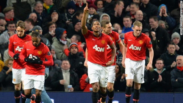 Antonio Valencia points to the heavens after scoring Manchester United's opening goal against Swansea City on Saturday.