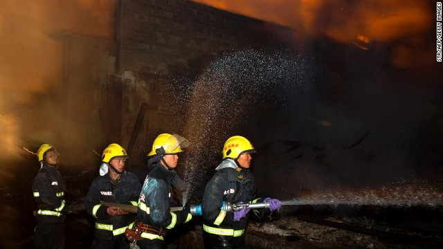 Firefighters battled the blaze that razed two thirds of the town for 10 hours.