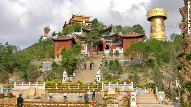 This 2012 photo from travel agency TravelBirds shows Dukezong in all its original glory. The town is home to ancient Buddhist temples and a giant golden prayer wheel.