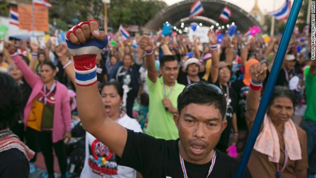 The People's Democratic Reform Committee (PDRC) protesters demonstrate at the democracy monument on January 12, 2014, in Bangkok, Thailand.