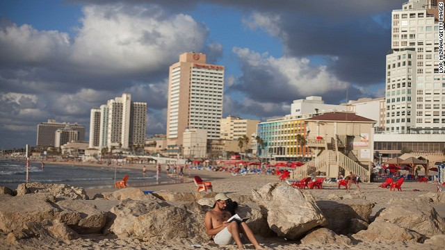 The beachfront of Tel Aviv, Israel.