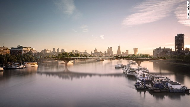 The Garden Bridge will span the 1,204 foot-wide river and contain 2 million pounds of soil, giving root to 270 trees, as well as innumerable shrubs, bushes, and flowers.
