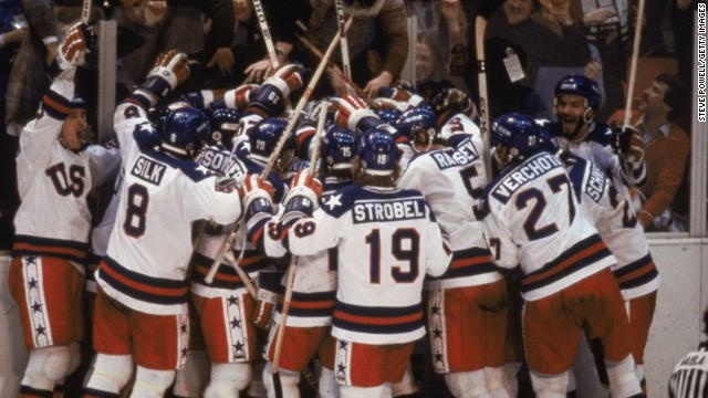 """The Miracle on Ice"" -- the day when the U.S. ice hockey team made up of college students and amateurs produced one of the greatest moments in Olympic history. The Americans qualified for the semifinal at the 1980 Games where it met the Soviet Union, a team which had won gold in each of the previous four competitions. Mike Eruzione was the hero, scoring the winning goal in a 4-3 victory as the U.S. went on to win gold in the final against Finland."