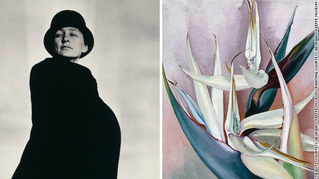 "American artist Georgia O'Keeffe suffered a mental breakdown in the early 1930s and had to be hospitalized. Her imagination, however, produced works of feminine elegance, such as her painting ""White Bird of Paradise"" shown here."