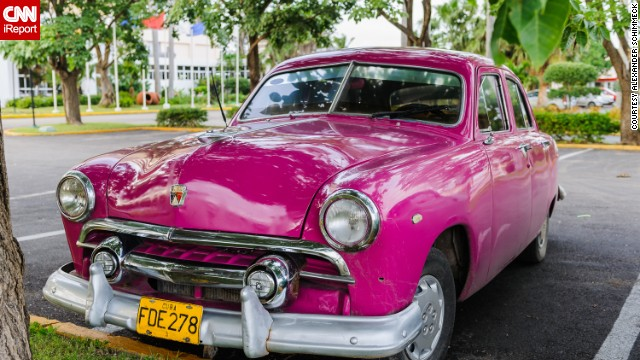 This hot pink car was captured on camera by German iReporter<a href='http://ireport.cnn.com/docs/DOC-1074105'> Alexander Schimmeck</a> in December 2008 outside Cuba's car museum in old Havana.
